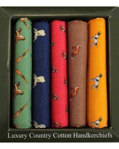 Luxury Set of 5 Country Print Handkerchiefs