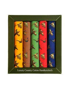 Luxury Set of 5 Pheasant Print Handkerchiefs